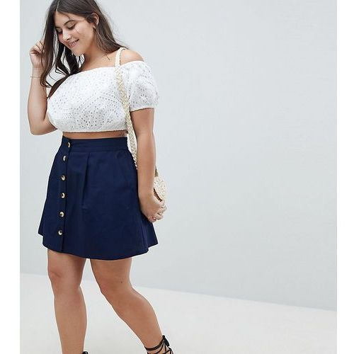 Asos design curve cotton mini skater skirt with button front - navy, Asos curve