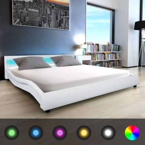 vidaXL Łóżko ze sztucznej skóry z materacem memory 180 x200 cm białe pasem LED