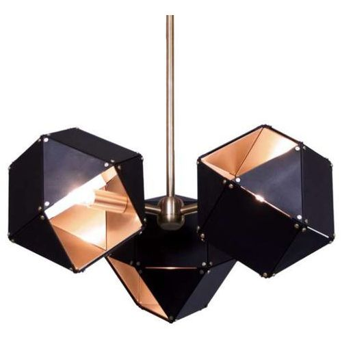 Step Modernistyczna lampa wisząca new geometry st-8861-3 metalowa oprawa zwis geometryczny sześciany czarne złote