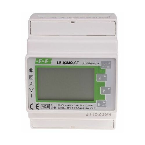 Licznik energii elektrycznej 3-fazowy le-03mq-ct mid rs-485 marki F&f