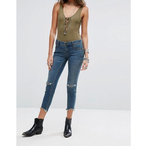 Free people mid rise destroyed ankle boyfriend jeans - blue