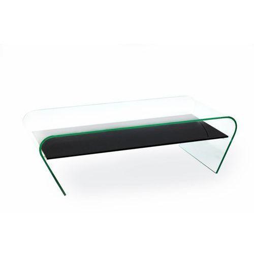 Stolik szklany CASA VIOLINO z półką - szkło transparentne, półka czarna