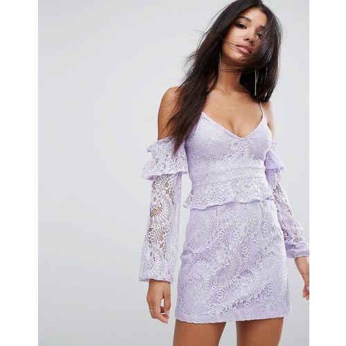 cold shoulder lace mini dress - purple marki Prettylittlething