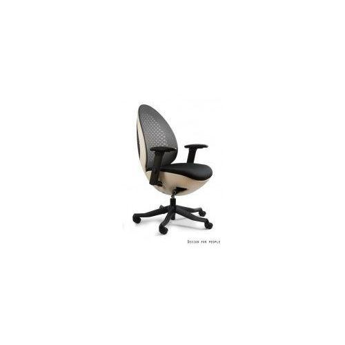 Krzesło biurowe Ovo czarno- białe, W-667W-BL418
