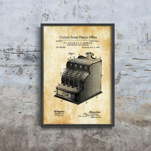 Plakat do pokoju plakat do pokoju kasa fiskalna fuller & griswold patent usa marki Vintageposteria.pl