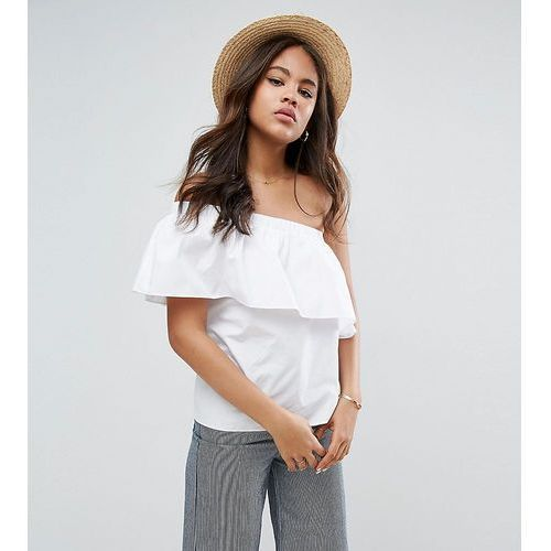 ASOS TALL One Shoulder Top in Cotton - White