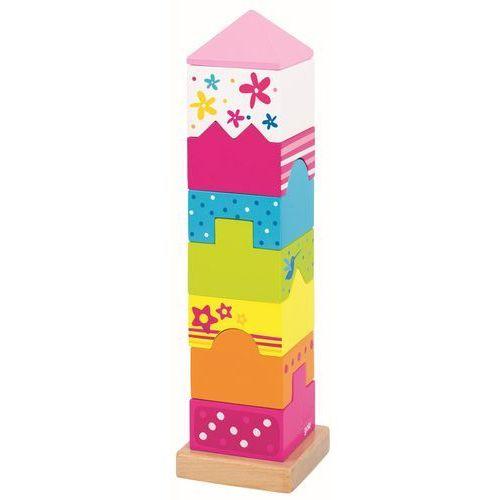 Goki Drewniana układanka wieża, zestaw klocków, susibelle58542 (4013594585422)