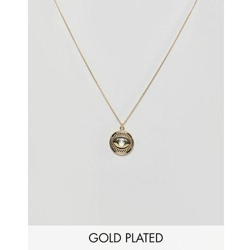 Orelia gold plated evil eye disc pendant - gold