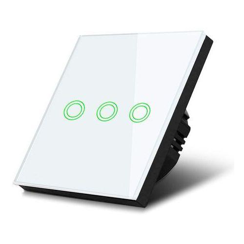 Włącznik dotykowy światła Maclean MCE705W potrójny, szklany, biały z okrągłym przyciskiem wymiary 86x86mm, z podświetleniem przy (5902211116349)