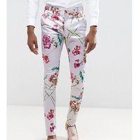 ASOS TALL Super Skinny Smart Trousers In Pink Floral Print - Pink, kolor różowy