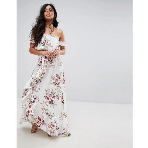 Boohoo Floral Off Shoulder Ruffle Maxi Dress - White