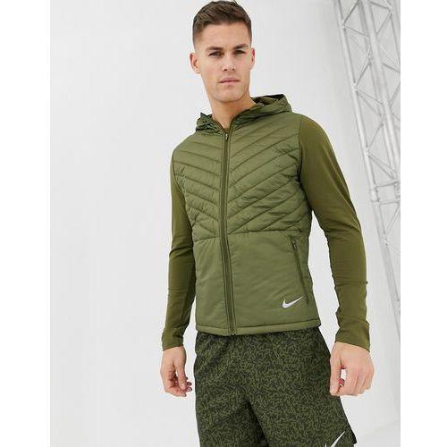 Nike running padded hooded jacket in khaki ah0544-395 - green