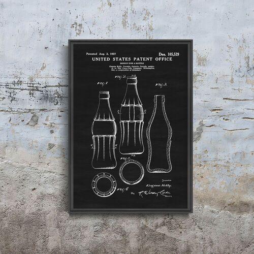 Plakat w stylu retro plakat w stylu retro projekt butelki coca-cola patent usa marki Vintageposteria.pl