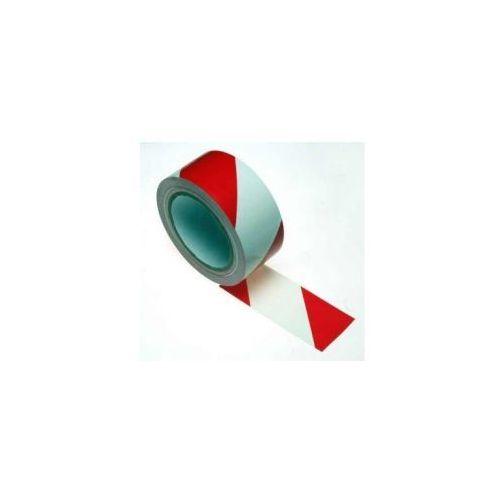 Taśma ostrzegawcza samoprzylepna biało czerwona szerokość 50 mm, 703ROL