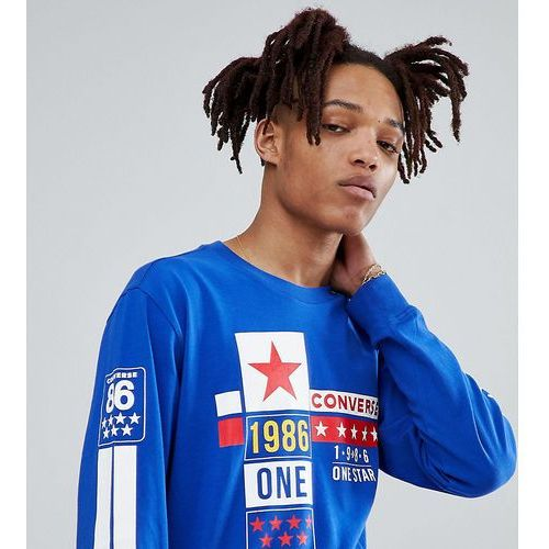 one star '86 long sleeve t-shirt in blue exclusive to asos - blue, Converse, XS-XXL