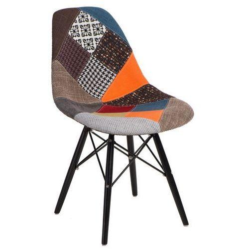 D2.design Krzesło p016w patchwork inspirowane dsw black - niebieski   pomarańczowy   szary   brązowy
