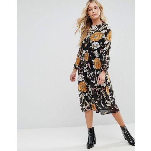 Boohoo High Nick Floral Midi Dress - Black, kolor czarny