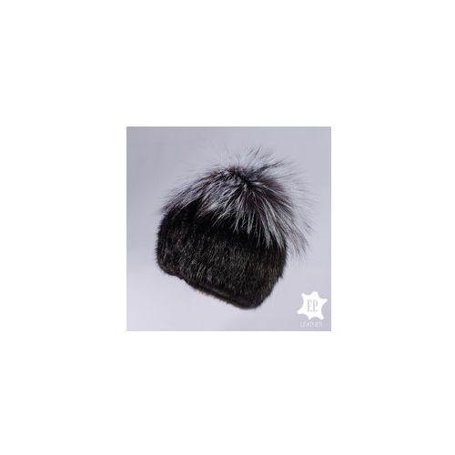 F.p. leather Czapka z norki / czapka z naturalnym pomponem [n63]