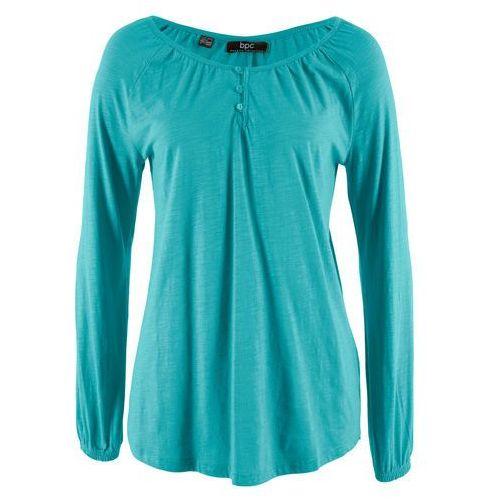 Shirt bawełniany z przędzy mieszankowej, długi rękaw bonprix zieleń morska
