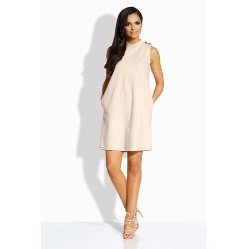 """Beżowa sukienka o linii """"a"""" z guzikami na ramionach, Lemoniade, 36-40"""