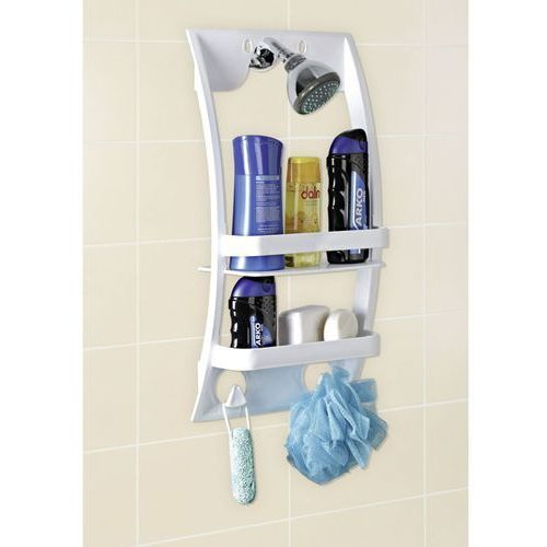 Uniwersalna półka łazienkowa - półka do montowania na kabinie lub drzwiach w łazience, WENKO (4008838248409)