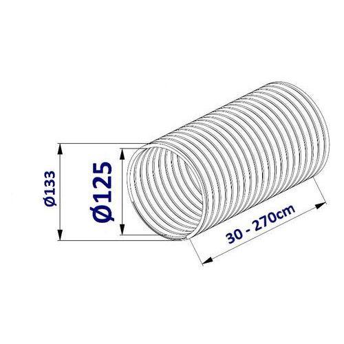 Przewód elastyczny flex do wentylacji 2,7m - 100; 125; 150mm przewód elastyczny flex 2,7m: 125 marki Mmt