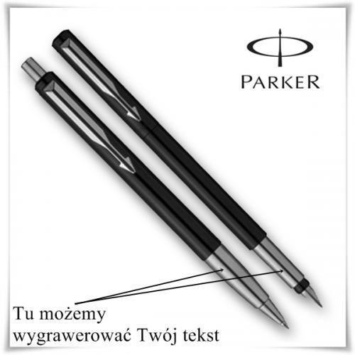 OKAZJA - Zestaw długopis i pióro Parker VECTOR Czarny + opcja graweru