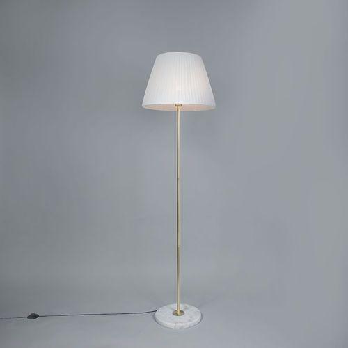Qazqa Lampa podłogowa kaso mosiądz z kloszem plisse 45cm biały