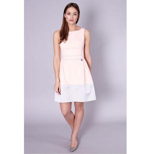 Różowa sukienka z paskiem - Click Fashion, 1 rozmiar