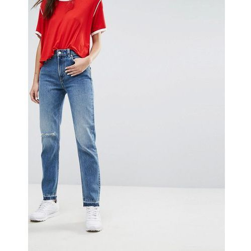 Weekday Seattle Mom Jeans with Rips - Blue, jeansy
