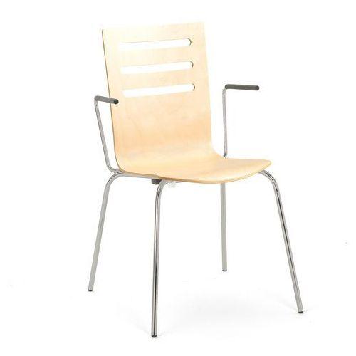Aj Krzesło do stołówki florence z podłokietnikami proste oparcie brzoza