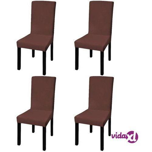 Vidaxl elastyczne pokrowce na krzesła w prostym stylu, 4 szt., brązowe (8718475978800)
