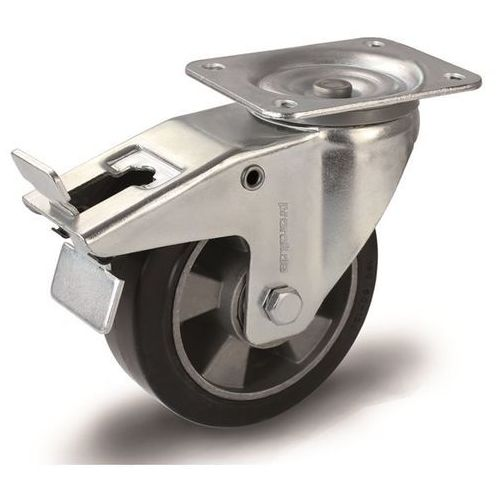 Proroll Elastyczne ogumienie pełne, czarne, Ø x szer. kółka 160x50 mm, rolka skrętna z p