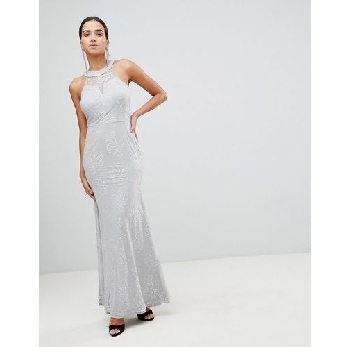 AX Paris High Neck Lace Maxi Dress - Grey