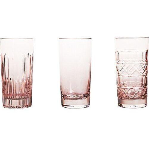 Szklanki do longdrinków veranda 3 szt. różowe marki Huta julia