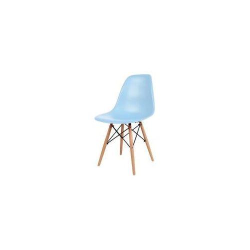 """Krzesło """"Monza""""- niebieskie z bukowymi nogami, kolor niebieski"""