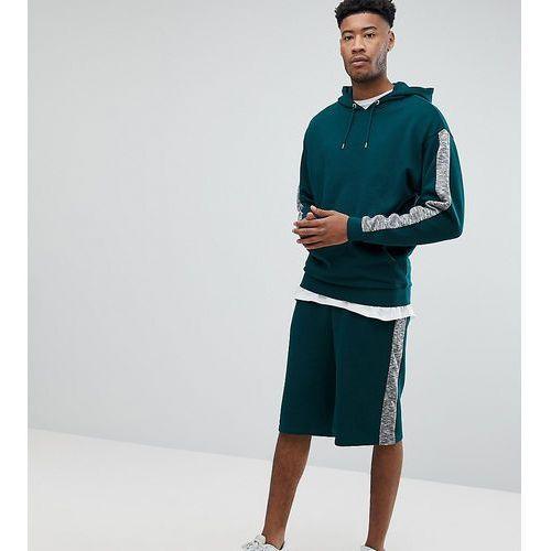 tall tracksuit oversized hoodie/ oversized shorts with slub panels - green, Asos, S-M