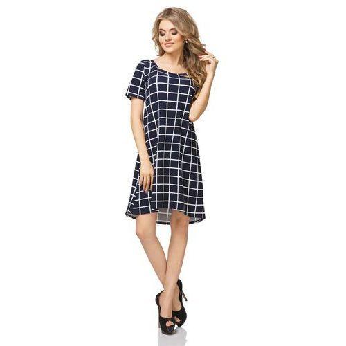 Sukienka Trapezowa z Krótkim Rękawem Wzór - Wafelek, T188wafelek
