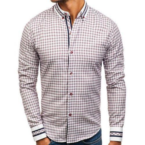 Koszula męska w kratę z długim rękawem bordowa 8808 marki Bolf