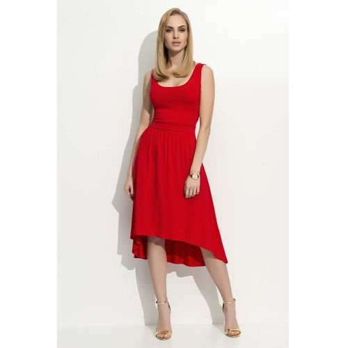 Czerwona Sukienka Asymetryczna na Szerokich Ramiączkach, DF10re