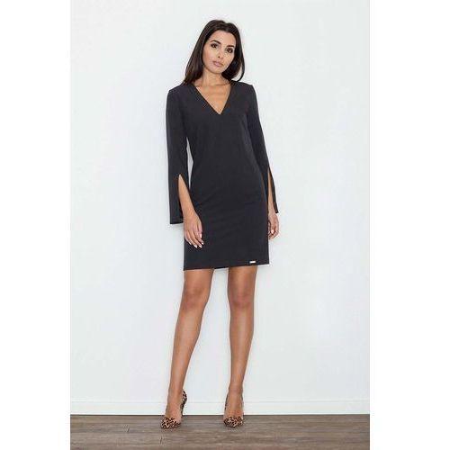 Czarna Sukienka Koktajlowa Mini z Rozciętym Rękawem, kolor czarny