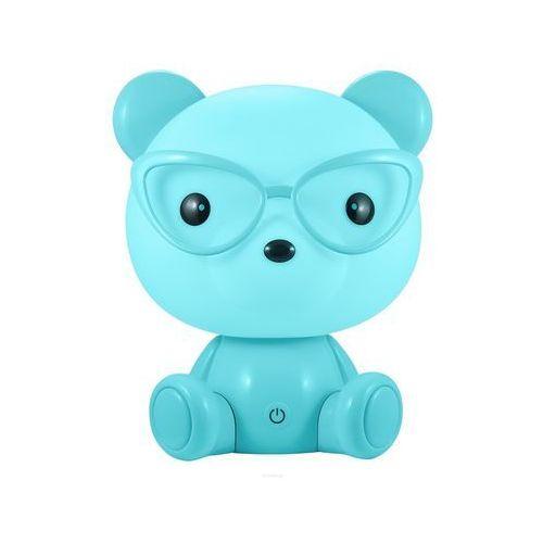 Lampka nocna dziecięca zwierzak Polux Miś okularnik 1x2,5W LED niebieska, 3 poziomy świecenia 308252, 308252
