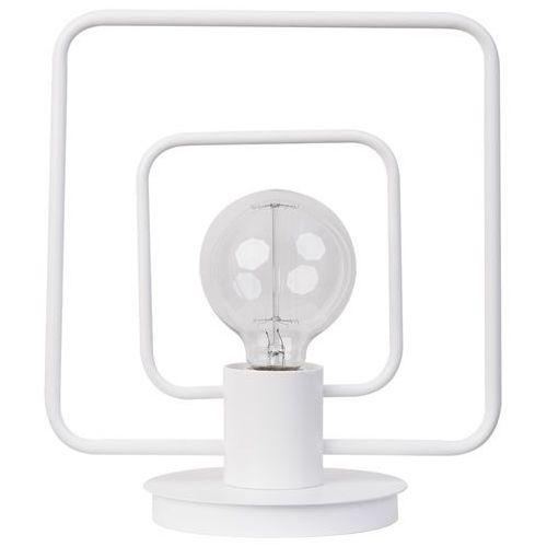 LAMPA stołowa FREDO KWADRAT 50103 Sigma stojąca LAMPKA metalowa ramka kwadratowa biała, 50103