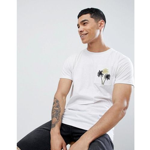 Bellfield t-shirt with palm tree metallic pocket - white