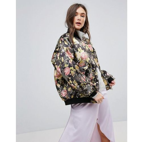 Free people floral jacquard oversized bomber jacket - black