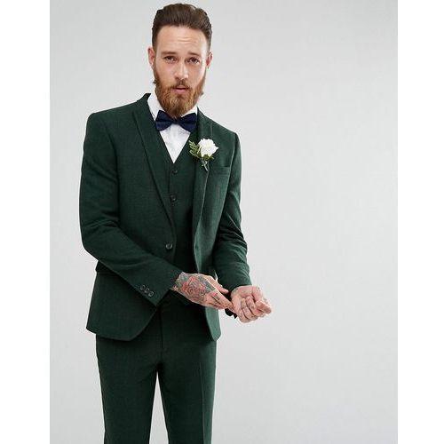 Asos wedding skinny suit jacket in forest green herringbone - green