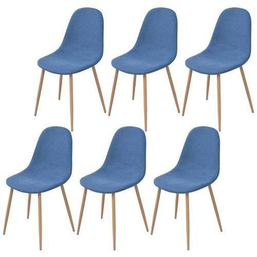 Krzesło do jadalni 6 szt., tkanina, niebieska