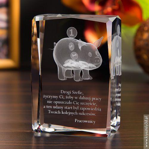 OKAZJA - Świnka Skarbonka 3D • personalizowany kryształ 3D • GRAWER 3D GRATIS