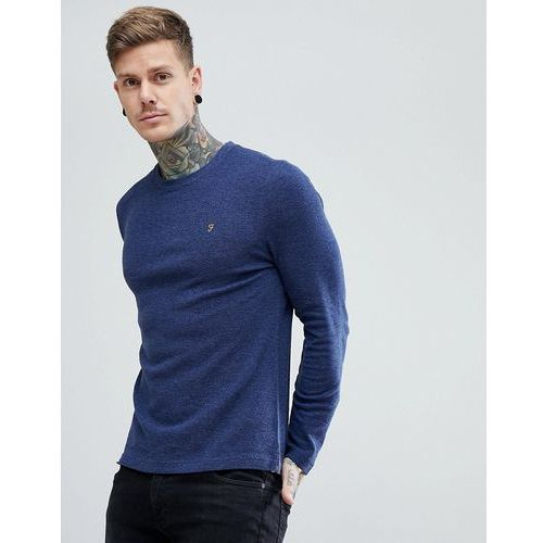 Farah lesser slim fit waffle textured long sleeve top in navy - navy