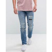 Esprit Slim Fit Distressed Jeans - Blue, kolor niebieski